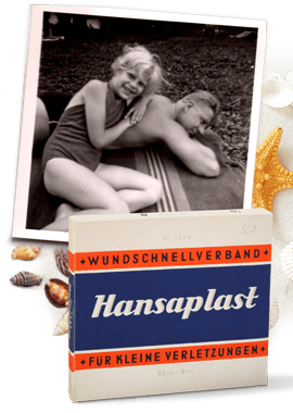 1951: Blond girl on father's back, seaside 1951, historic Hansaplast plaster package.