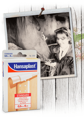 1992: young girl feeding horse in the Nineties, historic Hansplast plaster package, wooden door with shrubs.