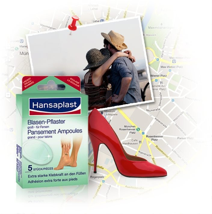 1997: young couple hugging wearing hats, red high heeled shoe, old Hansaplast blisterplaster package, map of Munich.